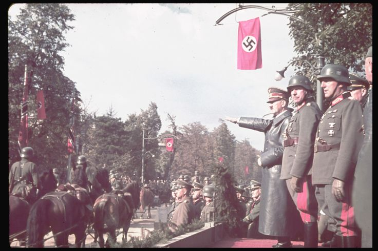 Adolf Hitler views victory parade in Warsaw after the German invasion of Poland, 1939