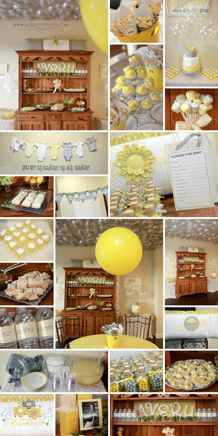 You are my sunshine baby shower - maybe swap the grey for teal blue.. and throw in some orange