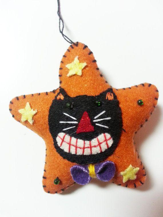 Halloween whimsical cat ornament felt applique wool decoration for Applique decoration