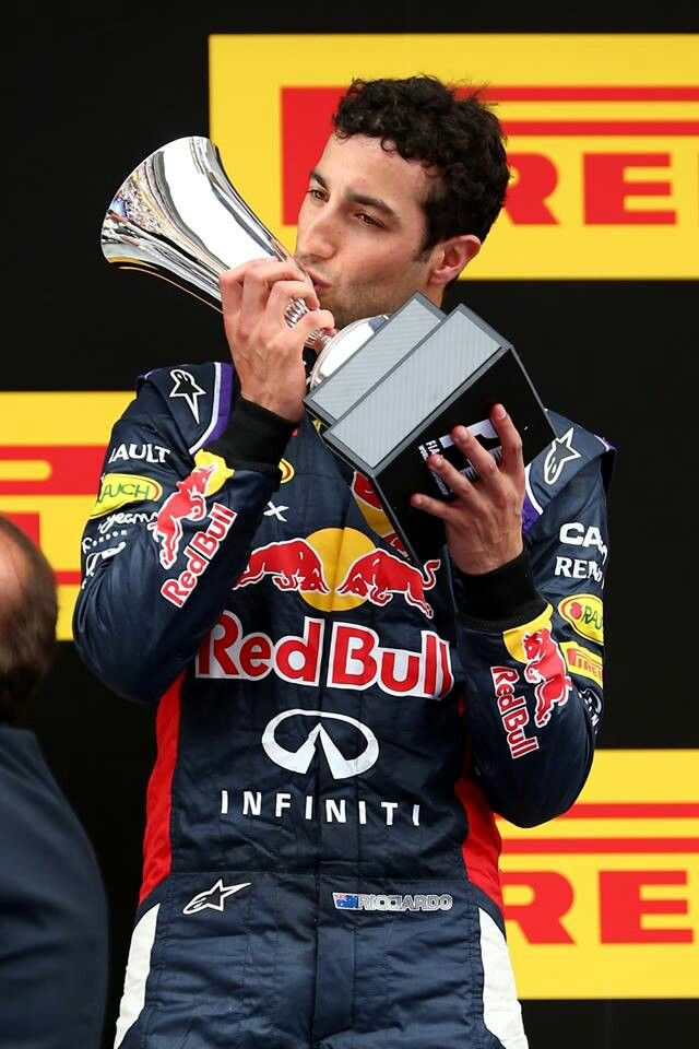 "Ricciardo, Ricciardo, Ricciardo! Daniel Ricciardo celebrates his first ""official"" podium win at the Spanish Grand Prix! You deserve it Dan!"
