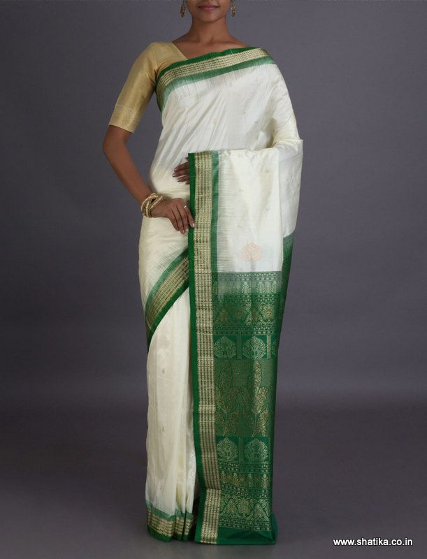 Leela Crystal White And Nature Green #SambalpuriSilkSaree