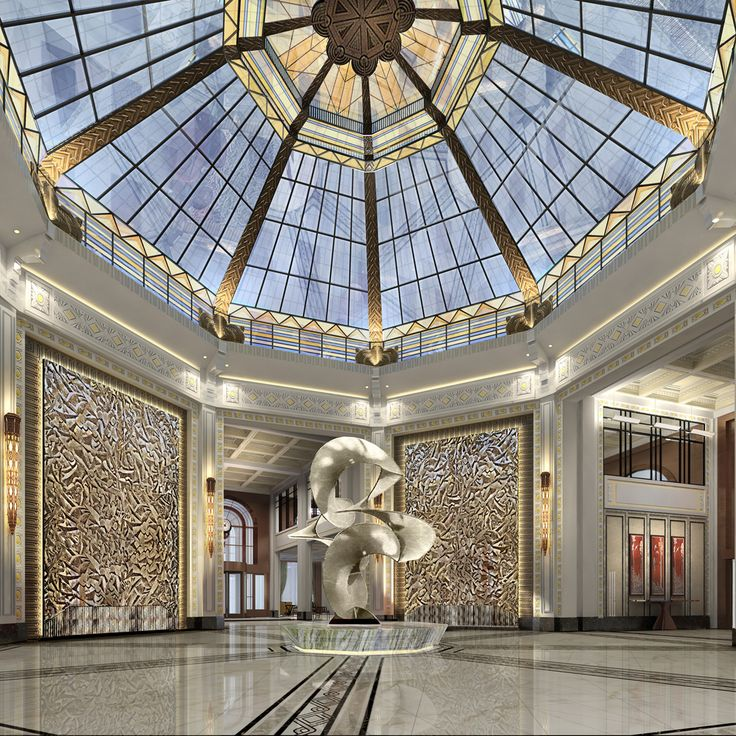 Lobby at Fairmont Peace Hotel, interior designed by HBA/Hirsch Bedner Associates