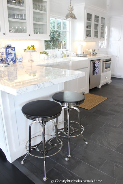 Glass Cabinets And Marble Countertops, Slate Floors