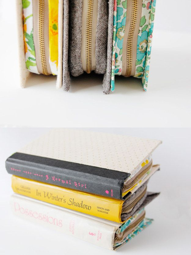 Kate of See Kate Sew crafted a genius DIY zippered book clutch made out of an old hardcover. It's easily adaptable to fit Kindles — just use extra zipper.