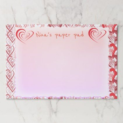 Red Doodle Hearts Pattern Paper Pad | Zazzle.com