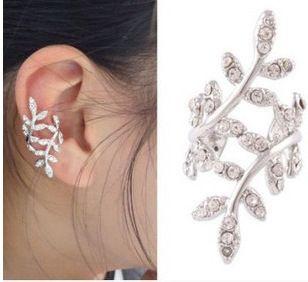 Cute Women Gold/Silver Plated Plum Leaves ear cartilage earrings Crystal Leaf Ear Cuff Warp Clip Earrings