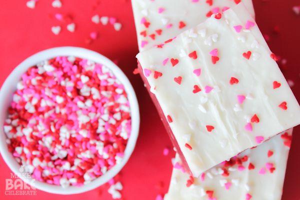 Red Velvet Cake Mix Fudge ~ via Rose Bakes