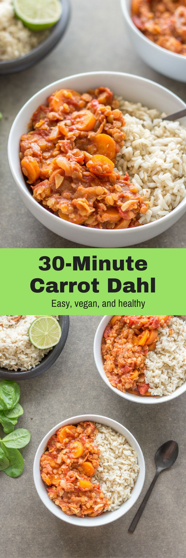 A 30-Minute Carrot Dahl with brown rice and spinach. Cheap, filling, healthy, sodelicious, and perfect for meal prepping! Healthy vegan recipes|healthy| vegan| dinner| lunch| vegan dinner recipes| recipes| vegetarian| The Mostly Healthy |