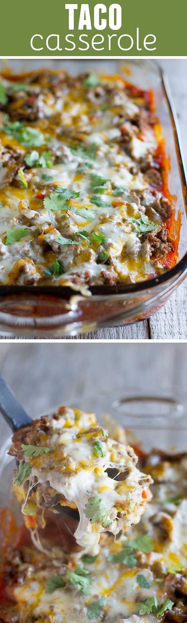 Biscuits are coated in taco sauce then topped with spiced ground beef and lots of cheese in this family friendly Taco Casserole.: