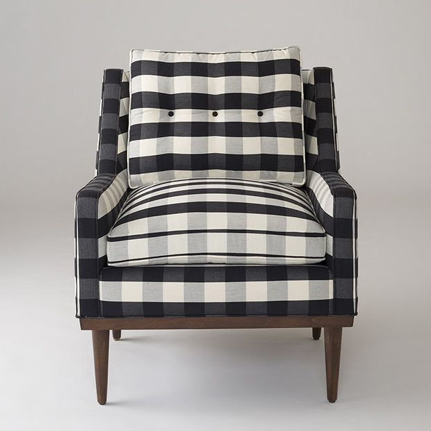 Black and white buffalo check doubles down on the comfort-focused, easy-going hipster vibe of this chair's mid-century modern inspired design.