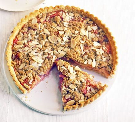 Rhubarb & Almond Crumble Tart recipe from BBC Good Food - a deliciously seasonal February dessert