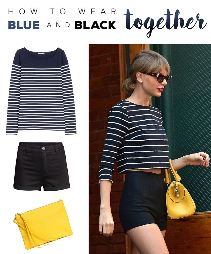Master Taylor Swift's style with this blue and black outfit. The yellow bag adds just the right pop of color. The best part is all of these items are affordable.