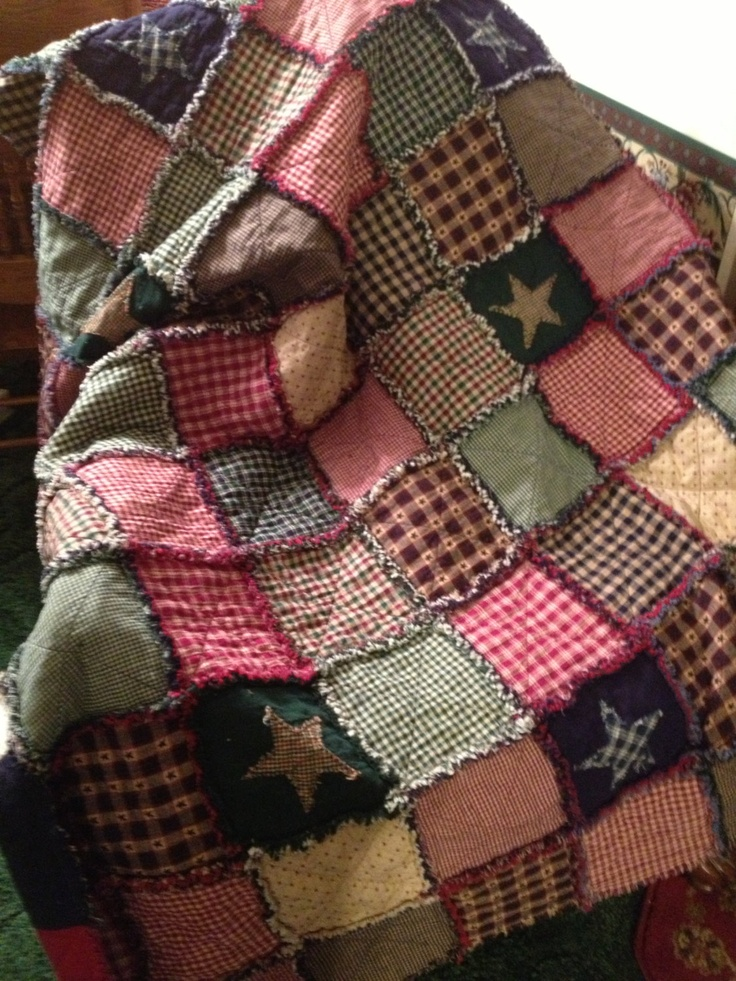 Homespun and Cotton Rag Quilt Very Large Throw Size ...