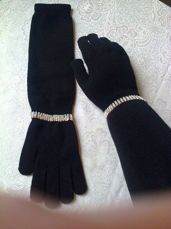 Vintage black gloves 50's style with by Vintageandelegant on Etsy, €28.00
