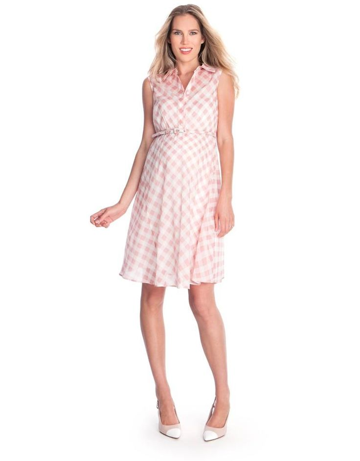 Pink Gingham Maternity Dress | Seraphine | Rose Quartz fashion | Stylish maternity dresses