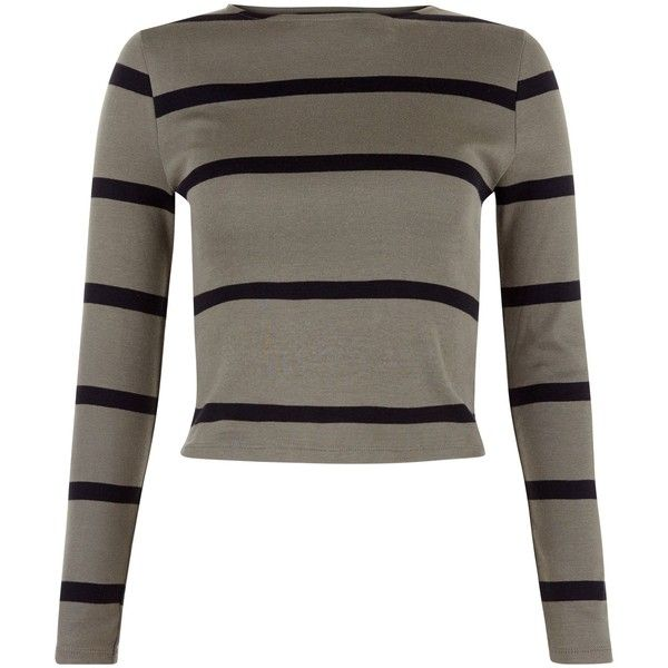 Teens Khaki Stripe Ribbed Long Sleeve Top (12 NZD) ❤ liked on Polyvore featuring tops, long sleeve tops, brown long sleeve top, striped long sleeve top, ribbed top and striped tops