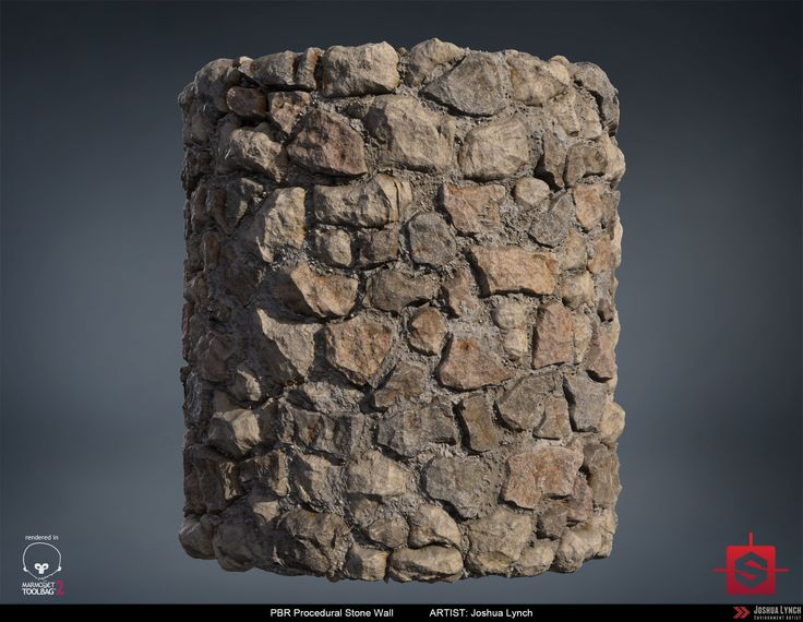 ArtStation - PBR Procedural Stone Wall Material Study, Joshua Lynch
