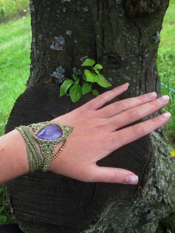 amethyst headband macrame tiara bracelet festival by inespu