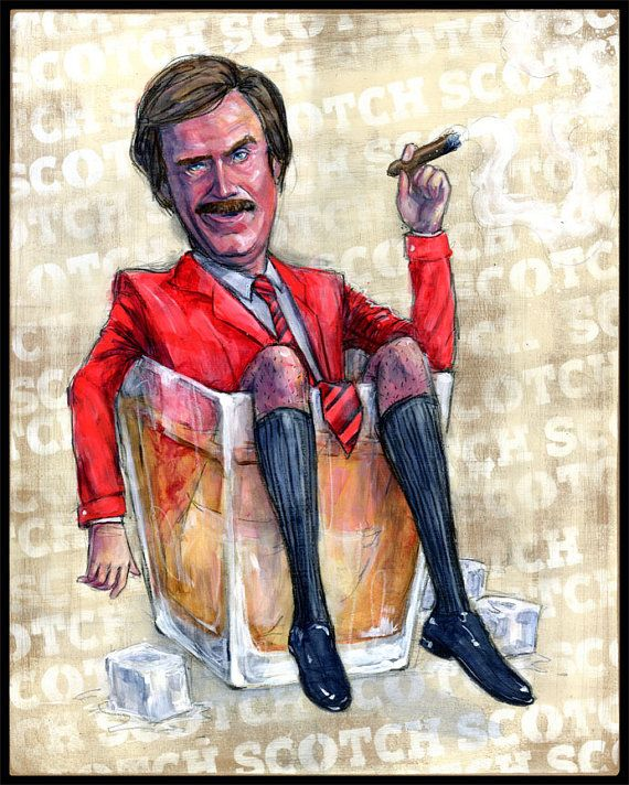 Anchorman Movie Art Print Posters  Ron Burgundy by BlackInkArtz, $35.00
