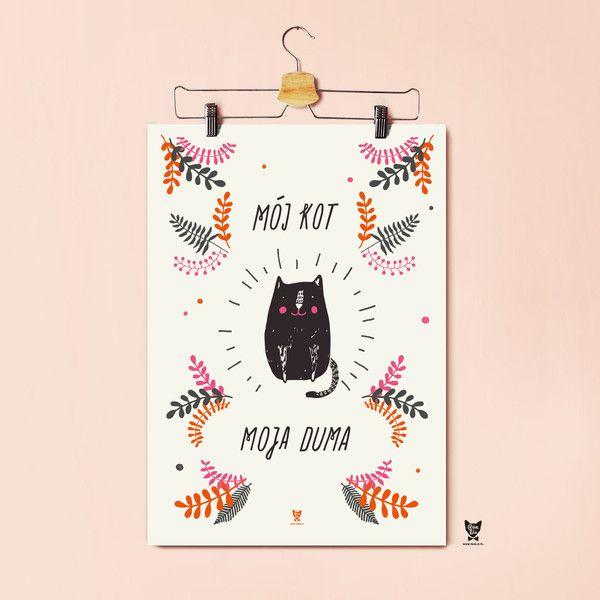 Plakat dla posiadaczy kotów- Mój kot, moja duma A3 - PanLis - Ozdoby na ścianę