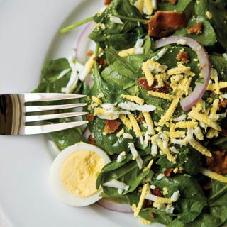 Wilted Spinach Salad With Warm Bacon Vinaigrette. A warm, flavorful bacon dressing enlivens a healthy side salad.