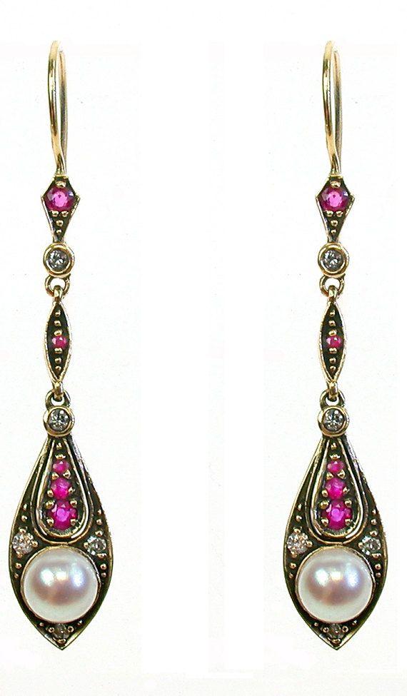 Vintage Pearl & Ruby Earrings with Diamonds, Antique Solid Gold Earrings, 9ct 9k 14k 18k, Women's Yellow Gold Earrings, E58 Custom