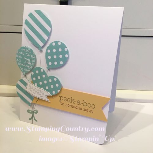 Baby Boy Card, Handmade, Balloon Bouquet, Suite Sayings, Stampin' Up! Cards
