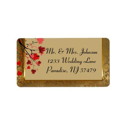 Beautiful Vintage Gold Damask & Art Deco Label - red gifts color style cyo diy personalize unique