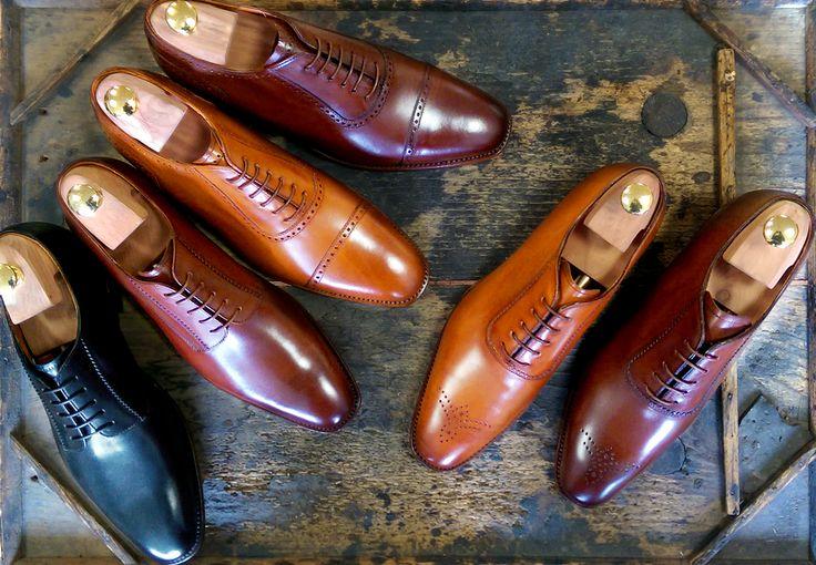 Langer & Messmer Modell Cannes (Cap Toe Punched Oxford), Lyon (Plain Tie Oxford) und Toulouse (Plain Derby)