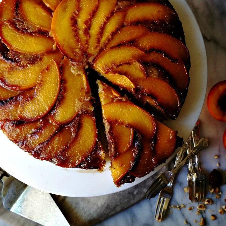 Whiskey, Hazelnut & Peach Upside-Down Cake