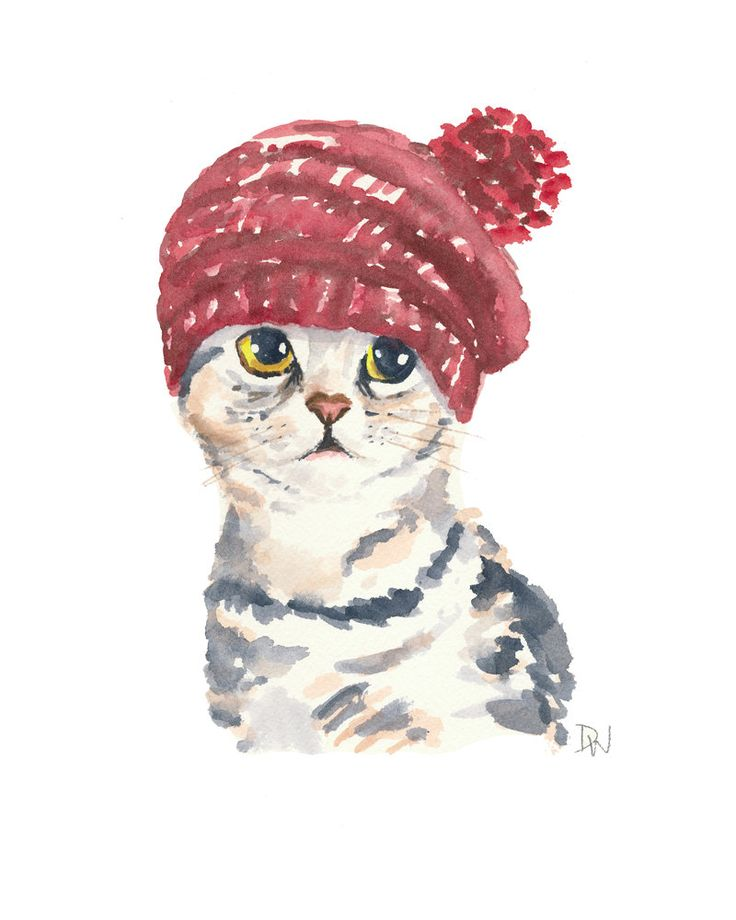 Cat Watercolor Original Painting - Knit Hat, Silver Tabby, Cat Illustration…