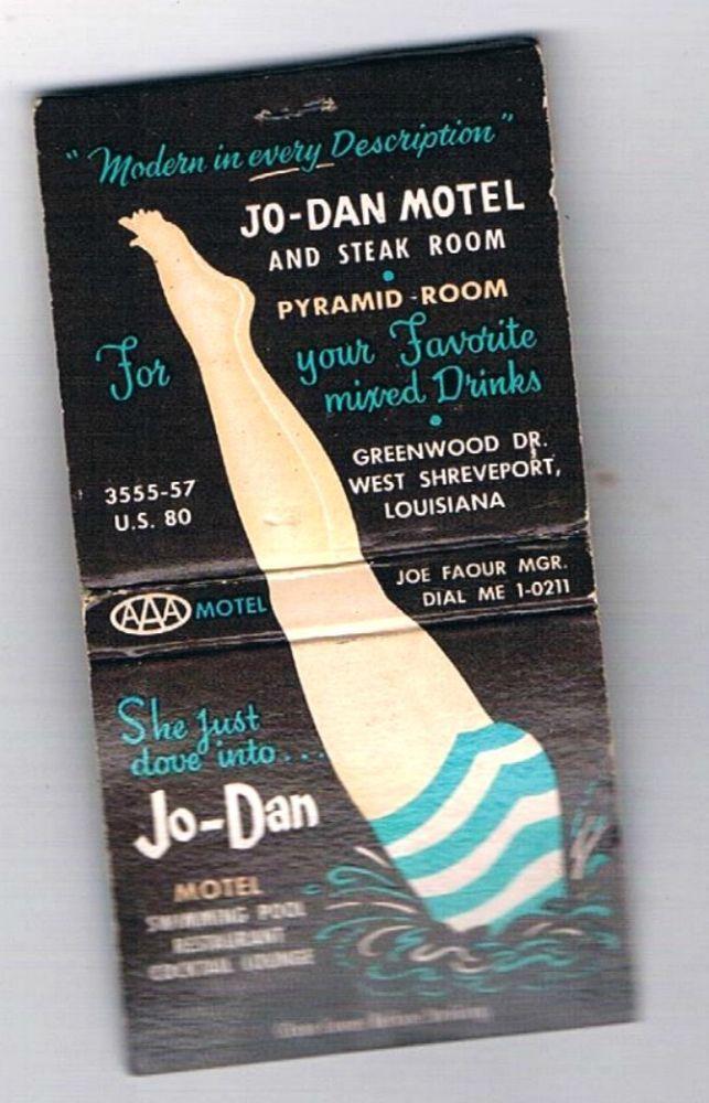 Vintage The Jo-Dan Motel Matchbook Shreveport, Louisiana 1950's  Dial ME 1-0211