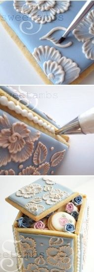 Brush embroidery, Cookie box and Brushes on Pinterest