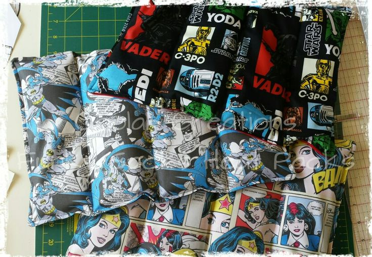 Custom Heat Packs going out today. With 4 x sections, the heating stays right where it should. (y)  (Tags: #CoolahCreations #handmade #heatpack #funkysacks #starwars #batman #wonderwoman)