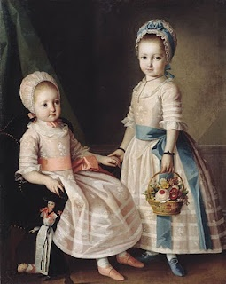 Portrait painting of young girls with flower basket, 1772