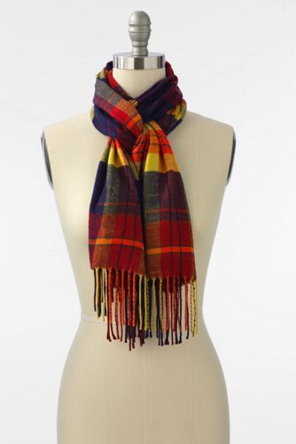 Women's CashTouch Plaid Scarf from Lands' End/ Love the anchor green plaid