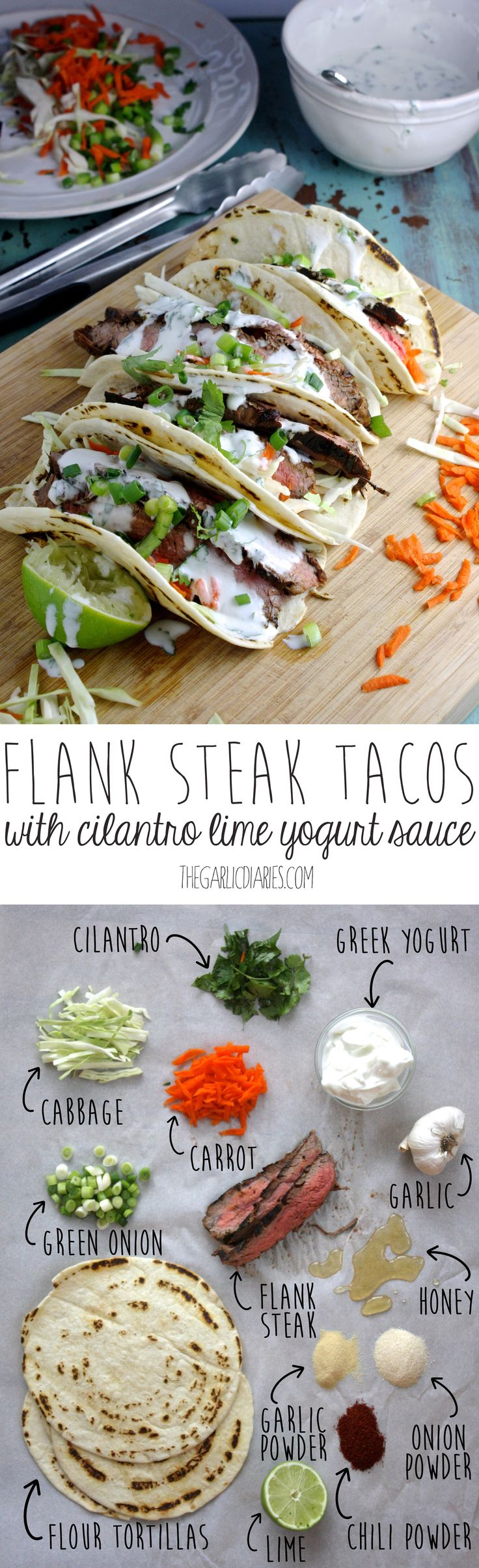 by Flank Steak Tacos with Cilantro Lime Yogurt Sauce by thegarlicdiaries #Tacos #Beef #Healthy #Fresh