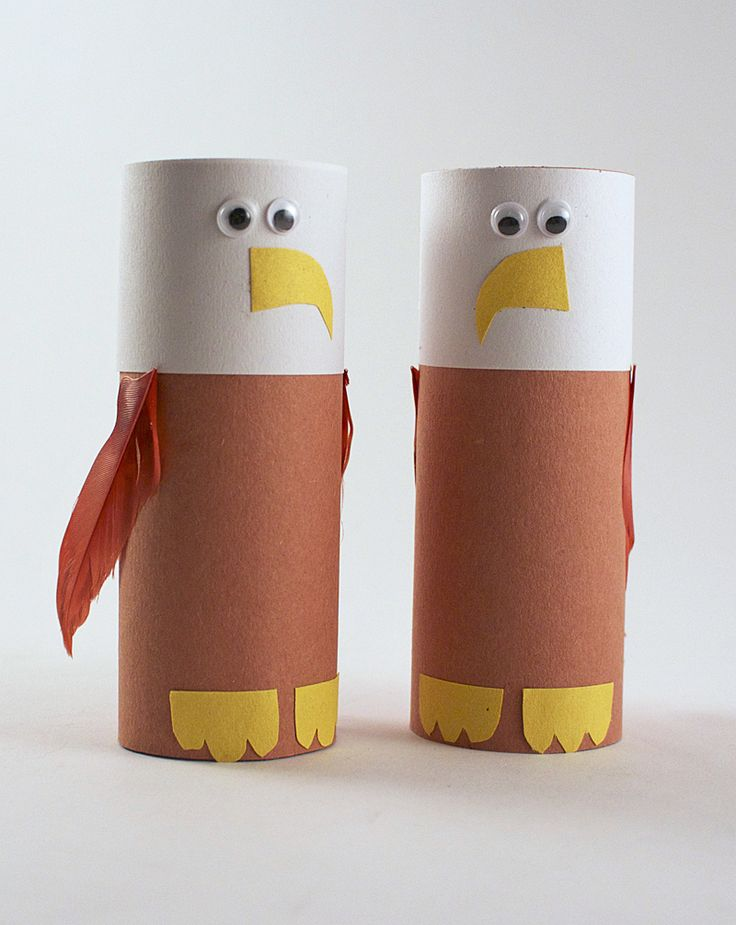 Cardboard Tube Bald Eagle  #animalcraft #preschool