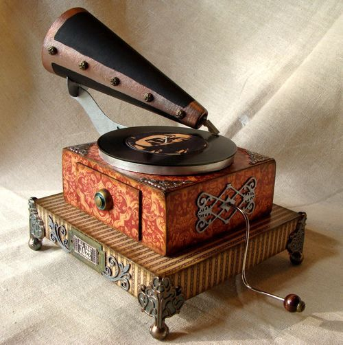 * Altered box made. into an antique phonograph replica.: