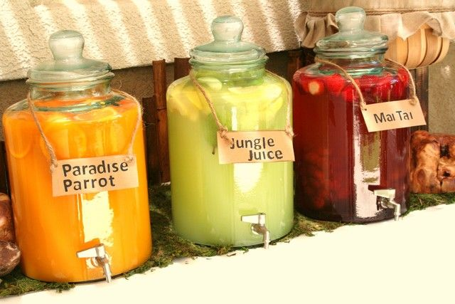 Yummy drinks at a Jungle Safari Party #junglesafari #partydrinks