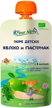 Fleur Alpine Яблоко и пастернак (с 6 месяцев) 120 г  — 61р. ---- Пюре Fleur Alpine Organic Яблоко и пастернак с 6 мес. 120 г (пауч). Детское пюре Fleur Alpine Organic яблоко и пастернак производится из гипоаллергенных сортов яблок и пастернака, выращенных органическим методом. Яблоки богаты природными сахарами, органическими кислотами, витаминами и микроэлементами. Железо в сочетании с витамином С хорошо всасывается в кишечнике, способствуя профилактике анемии. Пектины и органические кислоты…