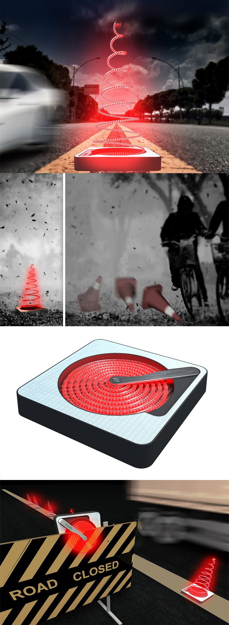The 'Dynamic Traffic Cone' is an environmentally friendly cone that lights up the way via its solar powered LED lights that make them more  noticeable at night – even at a distance... READ MORE at Yanko Design !