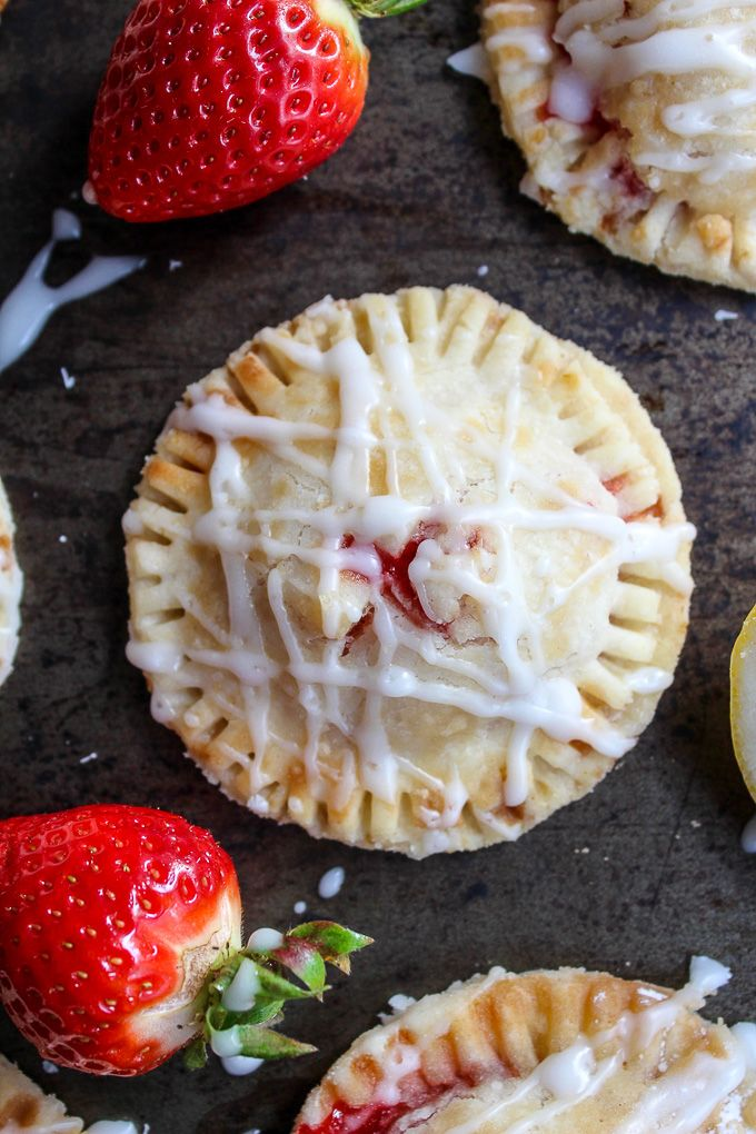 Vegan Strawberry Hand Pies with A Lemon Drizzle – made with a coconut oil crust