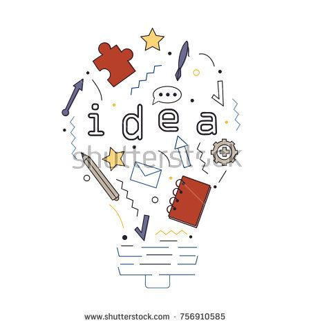 Vector illustration with idea, puzzle, notebook, pencil, envelope, mail, arrow and pen