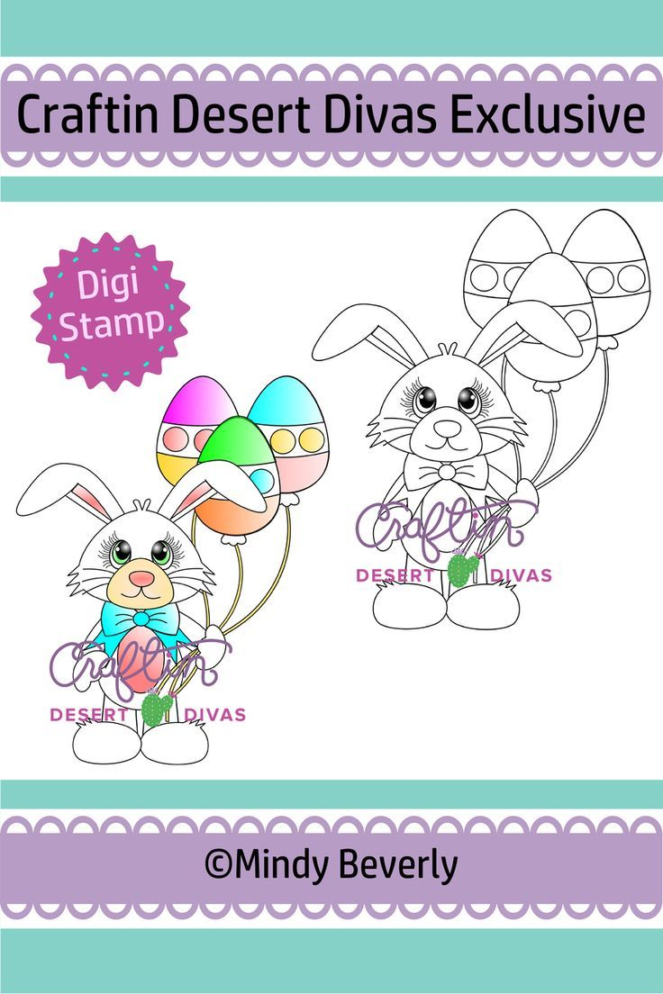 Easter Bunny With Balloons Digital Stamp - Craftin Desert Divas  #eastercards #bunnystamps #bunnycard #easterbunny