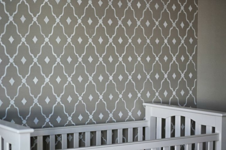 Stenciled Nursery Wall from Carolina Charm