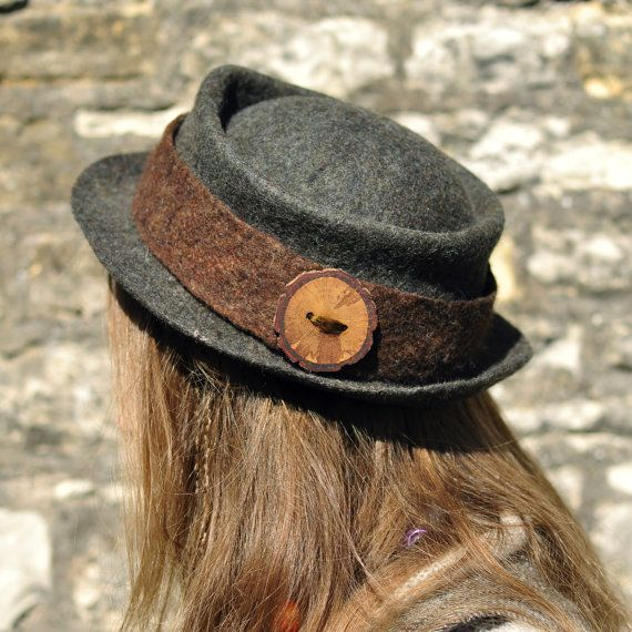 Felted wool hat 'Ranger'  low back of the head hat  by Innerspiral, £110.00