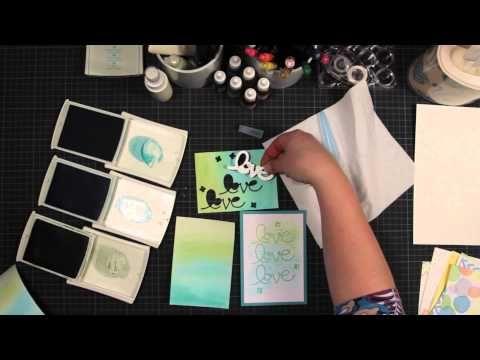 Trukendoos - stempeltechnieken watercolour techniques