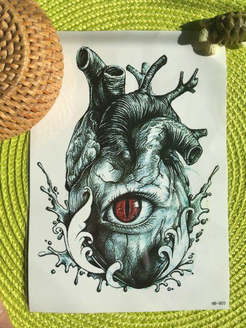 Переводная татуировка Анатомическое сердце - 200 руб, флеш тату, временная татуировка, наклейка на тело