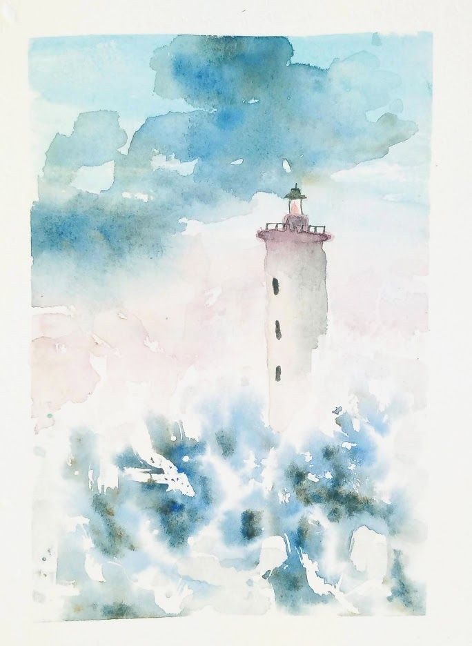 Peinture Aquarelle Facile Progressons Ensemble A L Aquarelle Peinture De Phare Peinture Aquarelle Dessin Mer